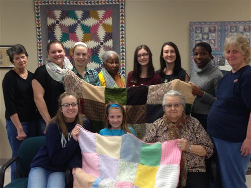 Knitting with the Senior Center for Warm Up America